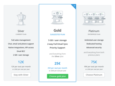in-app pricing table