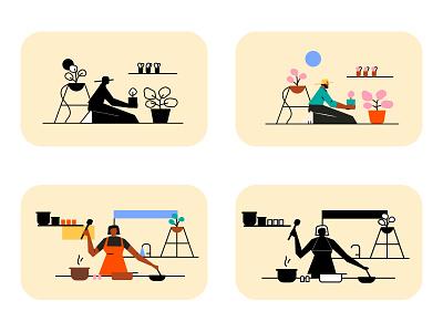 Stay Home and Enjoy website illustrationartist web ui digital designer minimal graphic illustration design