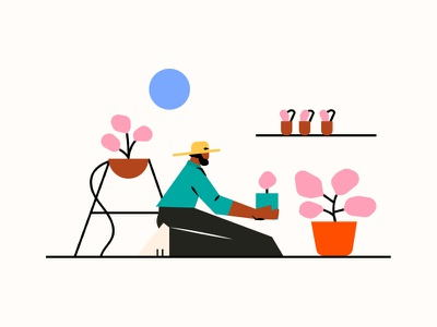Stay and Plant more planting plant character simple contrast vector illustrations illustraion illustrator website illustrationartist web digital ui designer graphic minimal illustration design