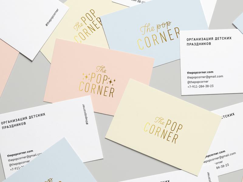 The Pop Corner Business Cards logo branding typography lettering vector design