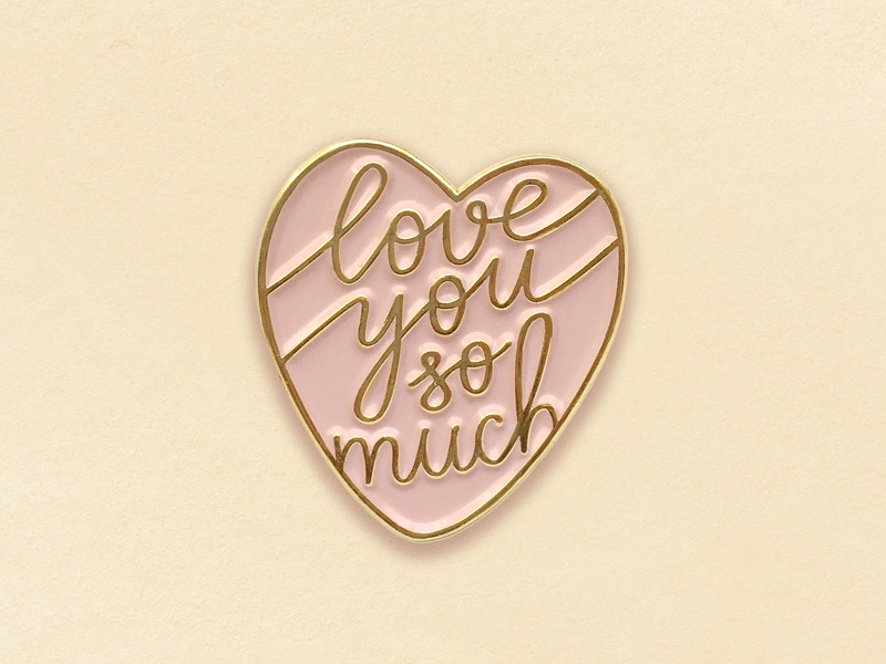 Love you so much Pin minimal icon type lettering logo typography vector design
