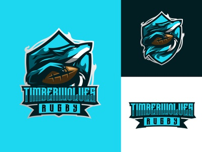 TIMBERWOLVES RUGBY logos sports logo football rugby rugby logo rugby team wolf logo branding logo motion graphics graphic design 3d animation ui