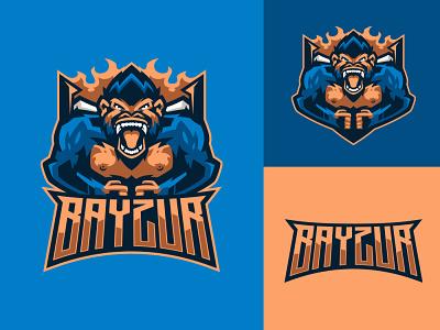 BAYZUR sports logo esports logo mascot logo gorila logo animal logo gorilla branding logo motion graphics graphic design 3d animation ui