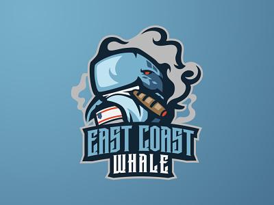 EAST COAST WHALE sports logo eaports logo sea whale logo animal whale mascot logo logo design animal logo branding logo motion graphics graphic design 3d animation ui