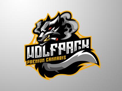 WOLFPACK PREMIUM CANNABIS animal wolf logo design sports logo esports logo mascot logo logos wolf logo branding logo motion graphics graphic design 3d animation ui