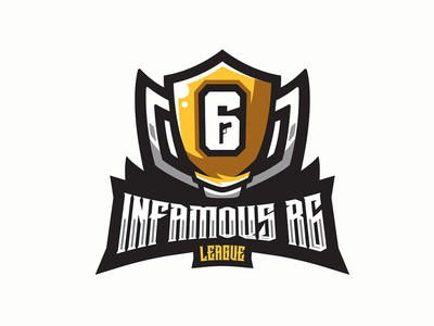 INFAMOUS R6 LEAGUE logos mascot logo sports logo esports logo pro league logo branding logo motion graphics graphic design 3d animation ui
