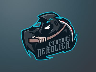 INFAMOUS DEADLIER sport logo esport logo mascot logo logos reaper logo reaper grim reaper logo grim reaper branding logo motion graphics graphic design 3d animation ui