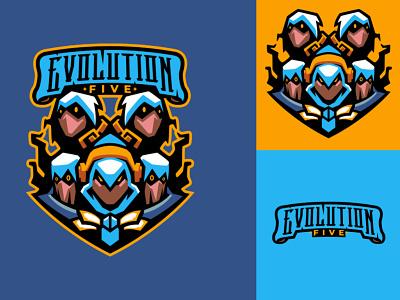 EVOLUTION FIVE mascot logo logos sports logo esports logo branding logo motion graphics graphic design 3d animation ui