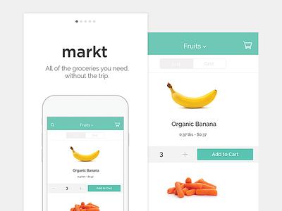Mobile Grocery Delivery ios iphone markt food grocery market concept app ui ux splash