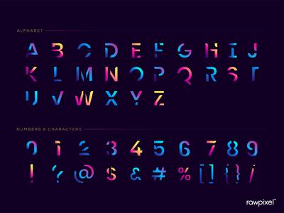 The English alphabet vibrant typography vector