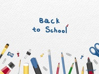 School stationery set on a white background vector