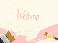 Pink brush strokes on yellow background vector