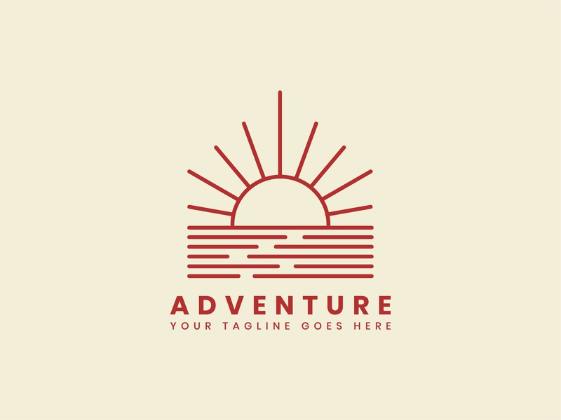 Outdoor adventure logo badge template minimal badge minimal logo minimal logo illustration branding travel summer sunet red template badge outdoor logo adventure outdoor