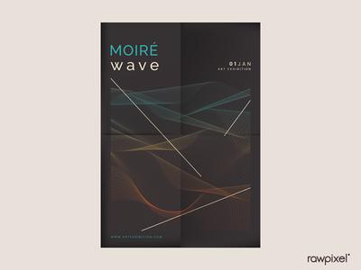 Black Moiré Wave Art Exhibition Poster