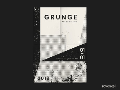 Grunge Grayscale Distressed Textured Poster