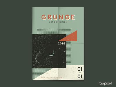 Grunge Pine Green Distressed Textured Poster