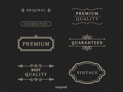Vintage premium label collection vectors