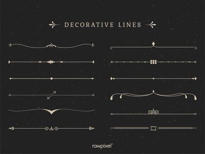 Vintage decorative line collection vectors