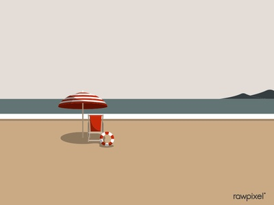 Summer time with umbrella and chair by the beach vector