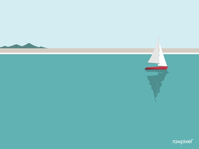 Sailing boat by the seaside vector