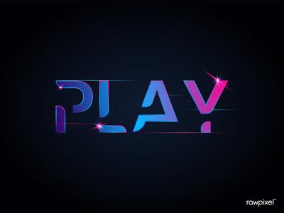 Play shiny vibrant typography vector