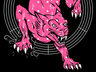 Leopold leopard big cat illustration design music poster listen pink panther