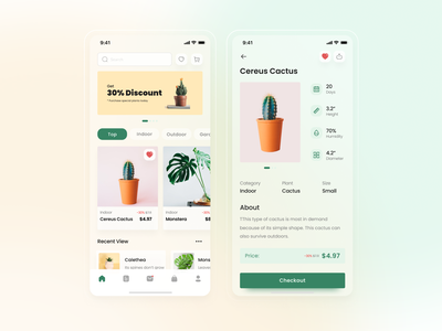 Plants Store App plant minimalist app mobile uiux layout clean design