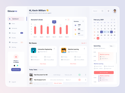 Educame - Web App learning management system learning english school educational uiux dashboad courses elearning layout clean design