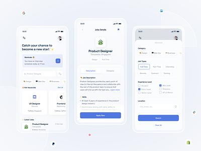 Job Finder App app job finder jobs app design uiux blue mobile layout clean design