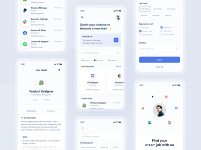 Job Finder App app uiux blue minimalist layout design jobs