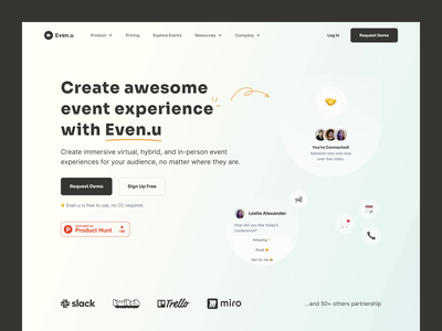 Even.u - Landing Page layout clean gradient landingpage event