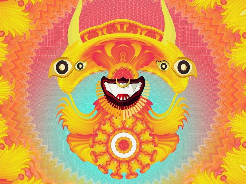 Spirit character blotter illustartion entity psychedelic trippy lsd