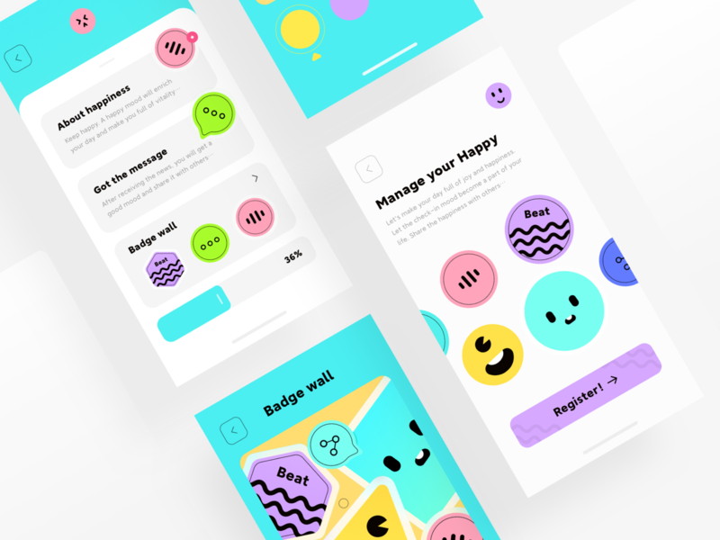 YABI CARD 3 interest illustraion fashion cute color branding app ui design