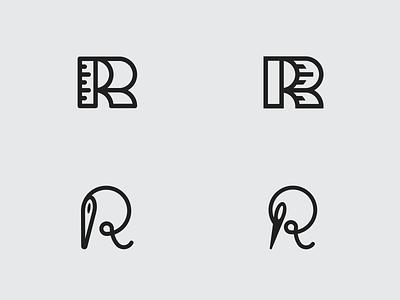Tailor R Exploration thread needle tailor icon logotype logo vector branding design