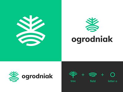 Ogrodniak company gardening tree logo garden o monogram o letter field tree vector logo design branding
