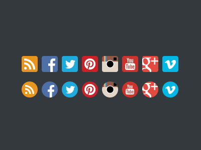 Flat Social Media Icons flat ui social media icon clean