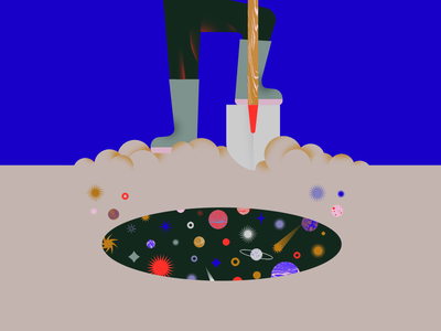 24. Dig curiosity space universe star planet dig shovel hole discovering texture exploration flat vectober2020 vectober inktober2020 inktober illustration