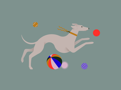 25. Buddy animal puppet running buddy puppy toys balls play greyhound doggo dog flat vectober2020 vectober inktober2020 inktober illustration