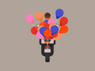 Balloons playful colorful scooter moto motorcycle float balloons design flat illustration