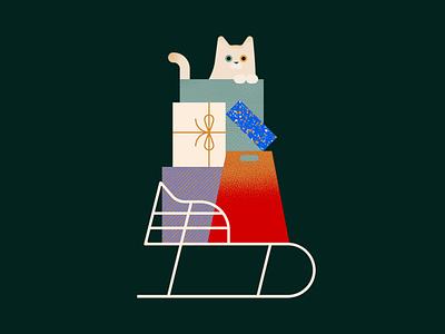 Xmas Cat christmas card seasons greetings sled winter holidays christmas pattern catto cat box presents texture illustration