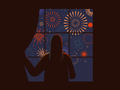 New Year's Eve stars curtains nye countdown night party alone lockdown isolation window colorful cheers fireworks 2021 new year new years eve illustration