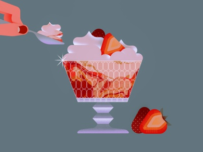 Cheesecake food bowl cup glass hand spoon fruit strawberry delicious cream dessert sweet cheesecake illustration
