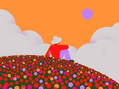Springtime clouds nature poppies chill calm hill spring blossom flowerly field springtime flowers colorful flat illustration