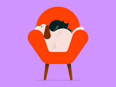Pet Day armchair couch sofa cat dog puppy buddy nationalpetday petday pet colorful flat illustration