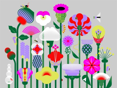 Garden cricket fly grass petals beetle caterpillar worm flowering springtime ladybug bulb blossoms spring nature wild bugs shape geometric flowers illustration