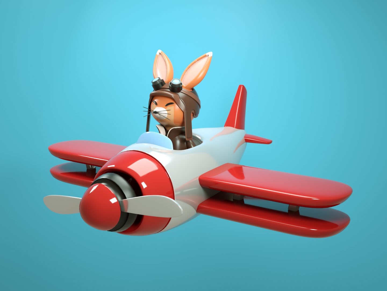 Piloto🦊 plane pilot fox toy design plastic octane maxonc4d material illustration design cinema 4d character animation octanerender 3d