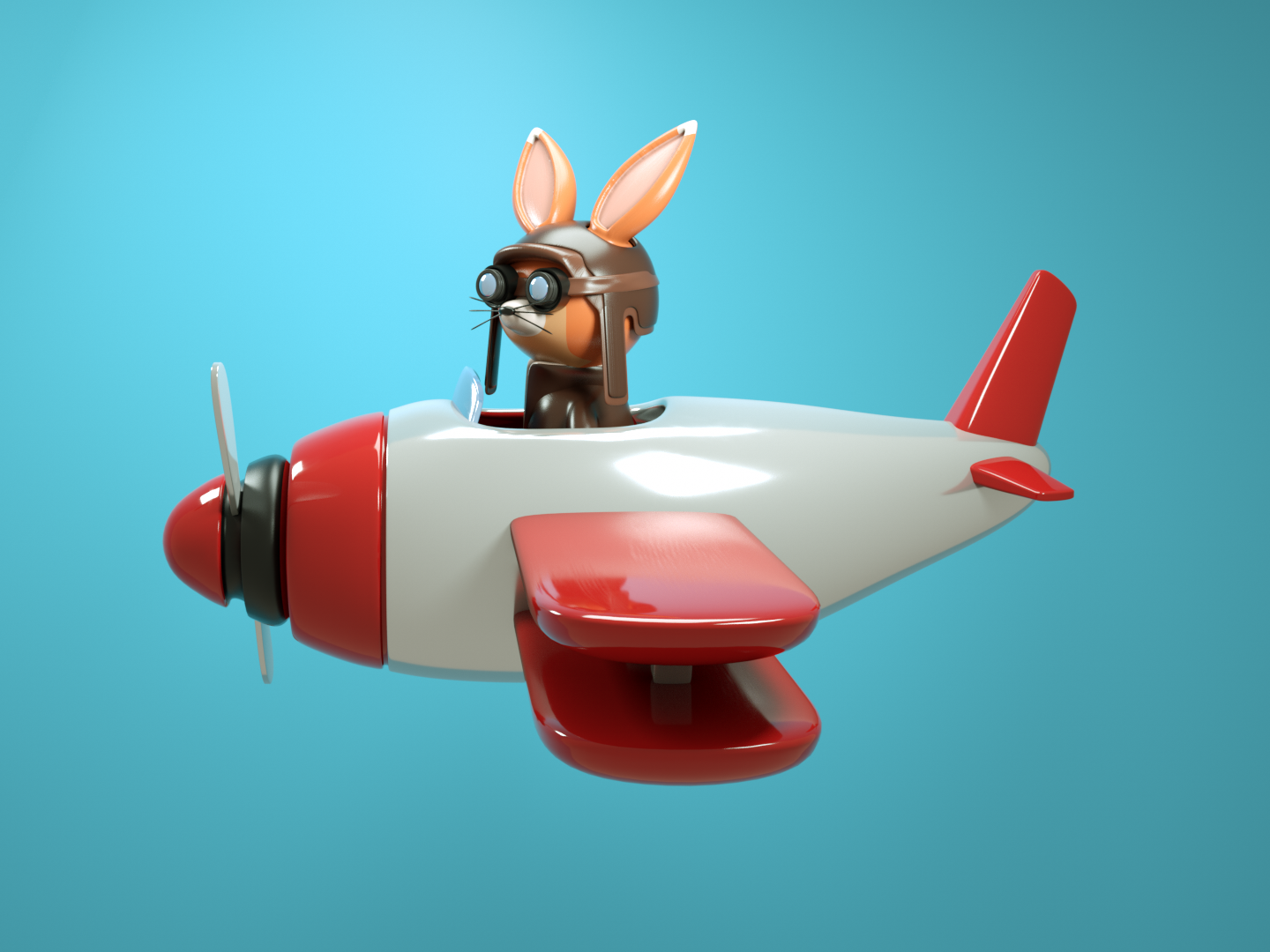 Piloto🦊 plane pilot fox toy design plastic octane maxonc4d material illustration design cinema 4d character animation octanerender 3d