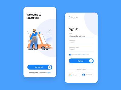 Smart Taxi App login screen fresh clean blue mobile design mobile app mobile ui mobile sign in sign up signup sign register login app branding ux minimal design ui