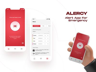 Alercy - Emergency App for Disasters Mobile App mobile app illustrations red alert earthquake disasters health app health emergency mobile app minimal ux ui
