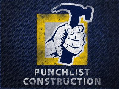 man holding a hammer grainy construction logo design